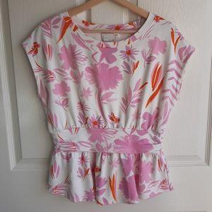 Postmark Pink Floral Peplum Tee Shirt Size Medium